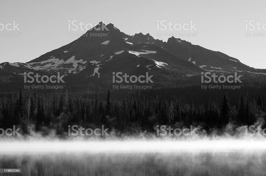 Lake and Mountain in B&W stock photo