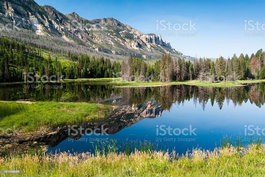 Lake and mountains along Chief Joseph Scenic Byway stock photo