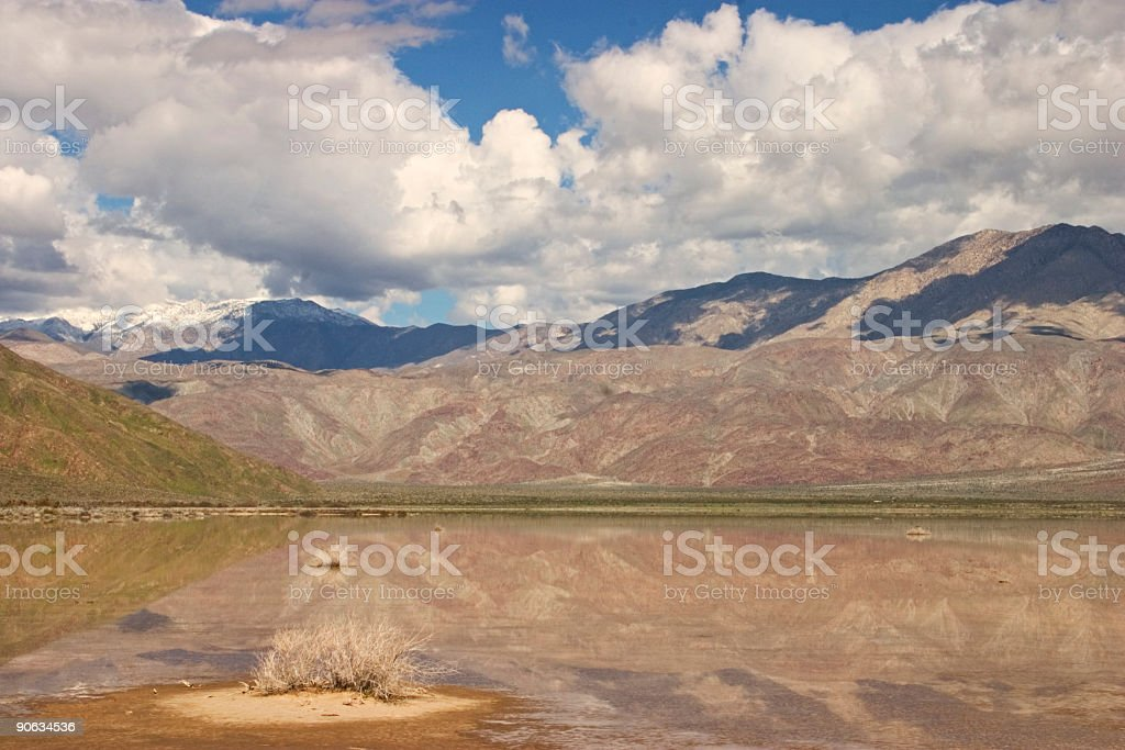 Lake and Mountains, Anza-Borrego State Park CA stock photo