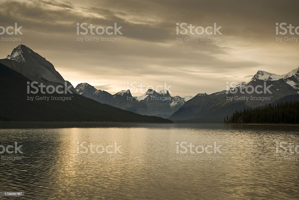Lake and mountains at sunrise stock photo