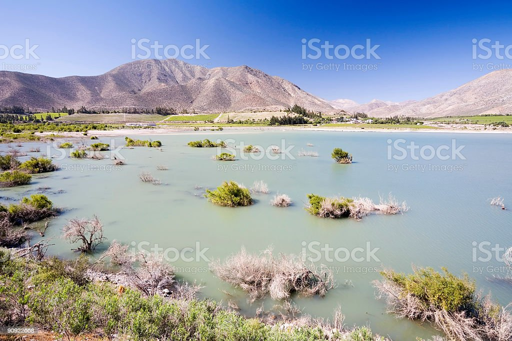 Lake and Mountains. Chile stock photo