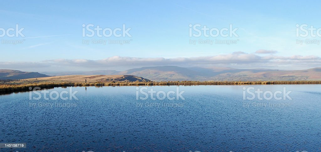 Lake and mountains in South Wales stock photo