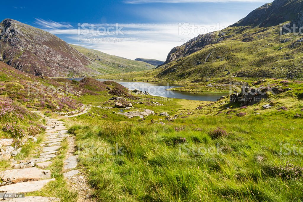 Lake and mountains, Llyn Idwal stock photo