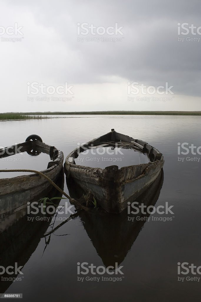 lake and old boats royalty-free stock photo