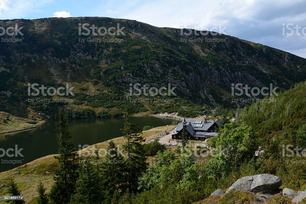 Lake and Samotnia mountain hostel. stock photo