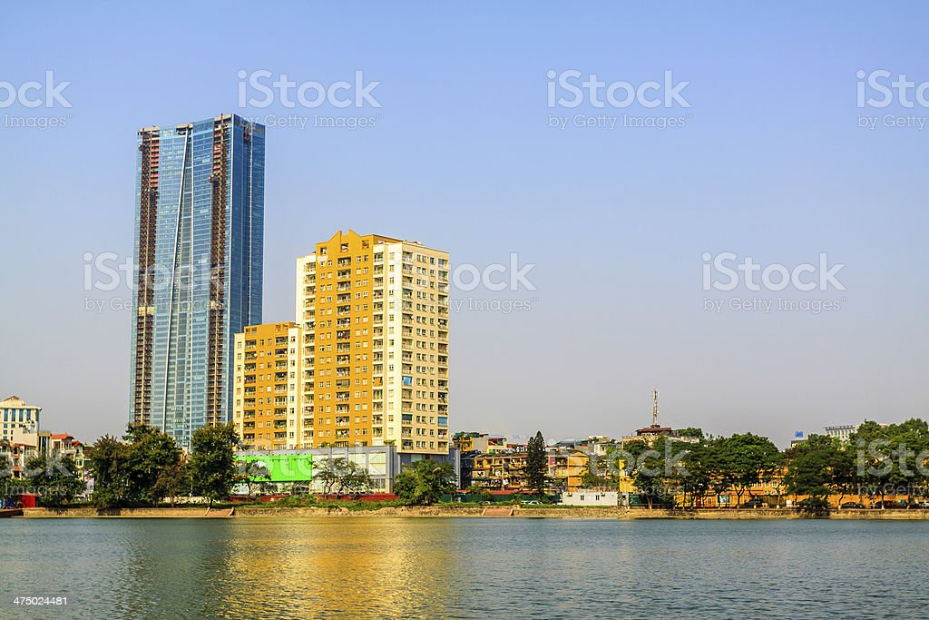 Lake and skyscrapers with blue sky stock photo