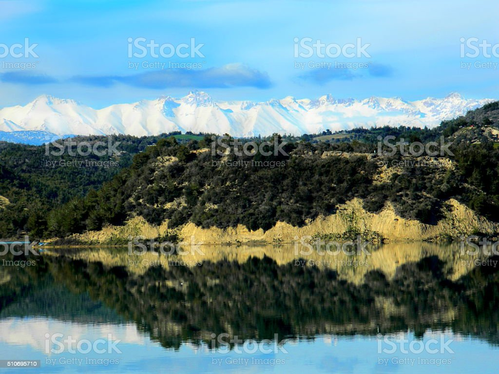 Lake and Snowy Mountains stock photo