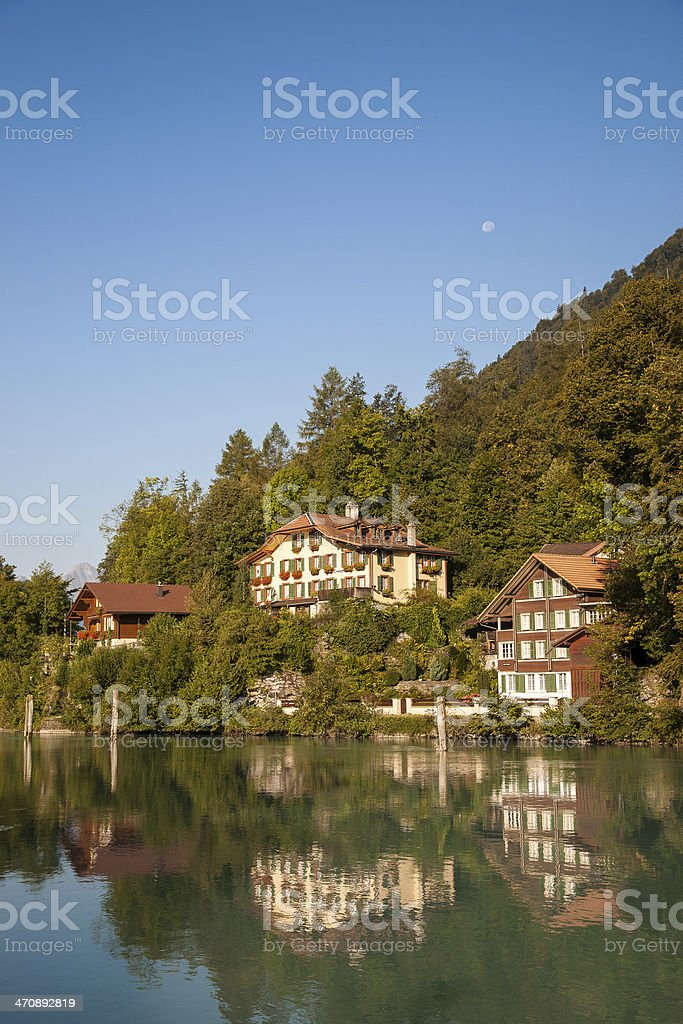 Lake and the house in Interlaken royalty-free stock photo