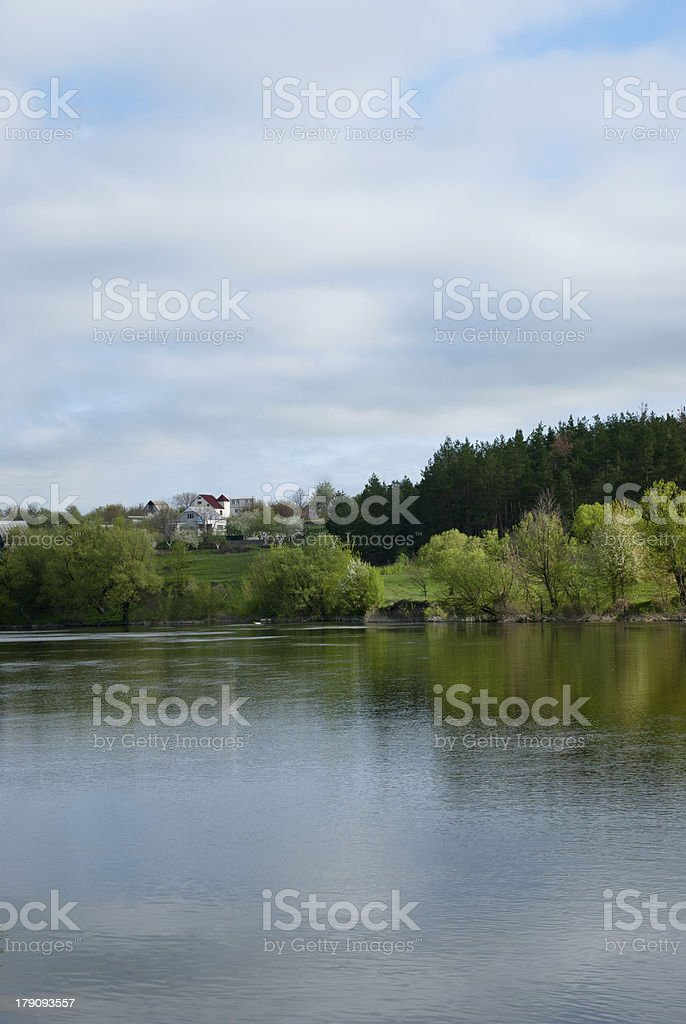 lake and the house royalty-free stock photo