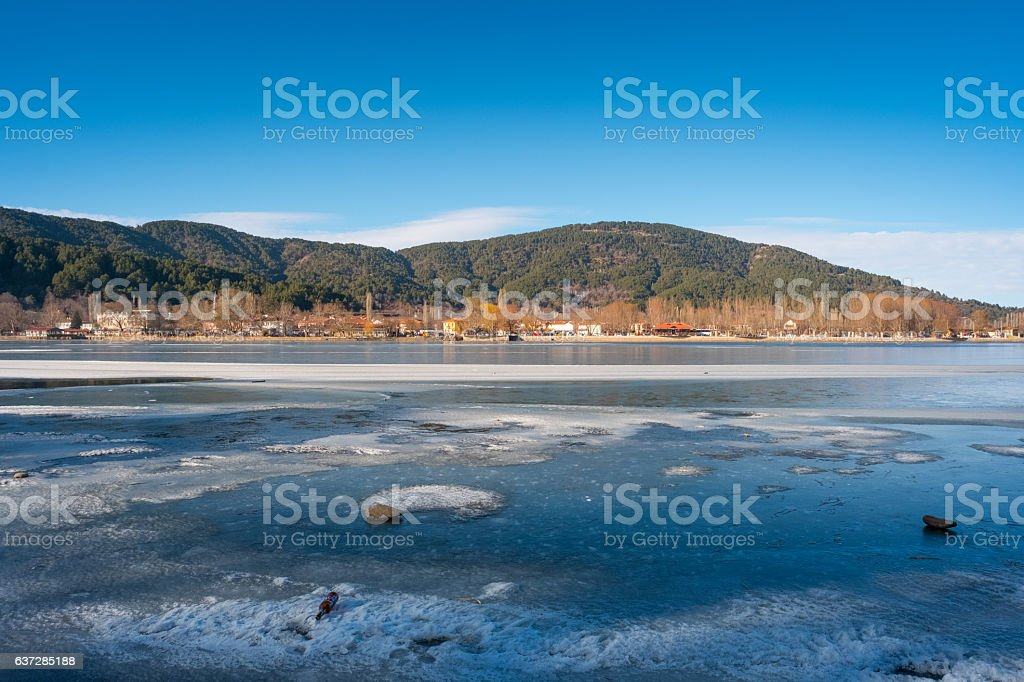 Lake and Town Golcuk in Odemis stock photo