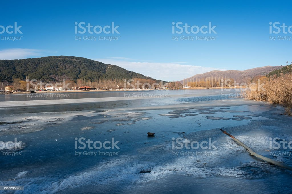 Lake and Town of Golcuk in Odemis stock photo