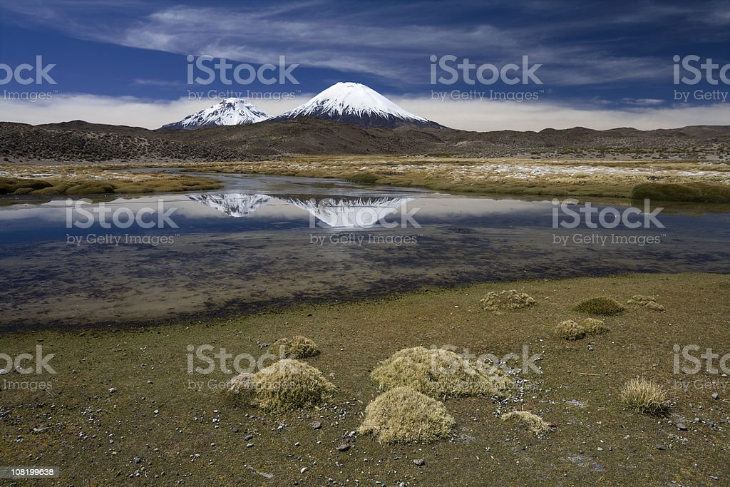 Lake and Two Volcanoes stock photo