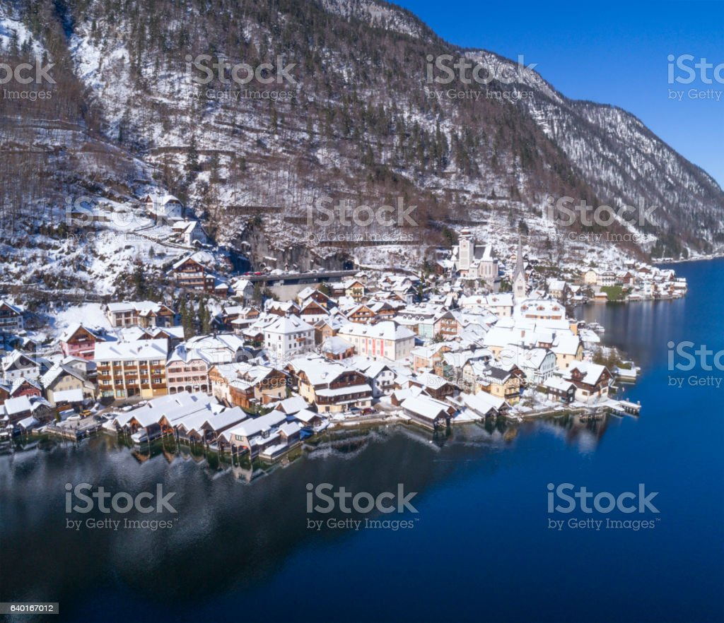 Lake and Village Hallstatt covered in Snow, Austria stock photo