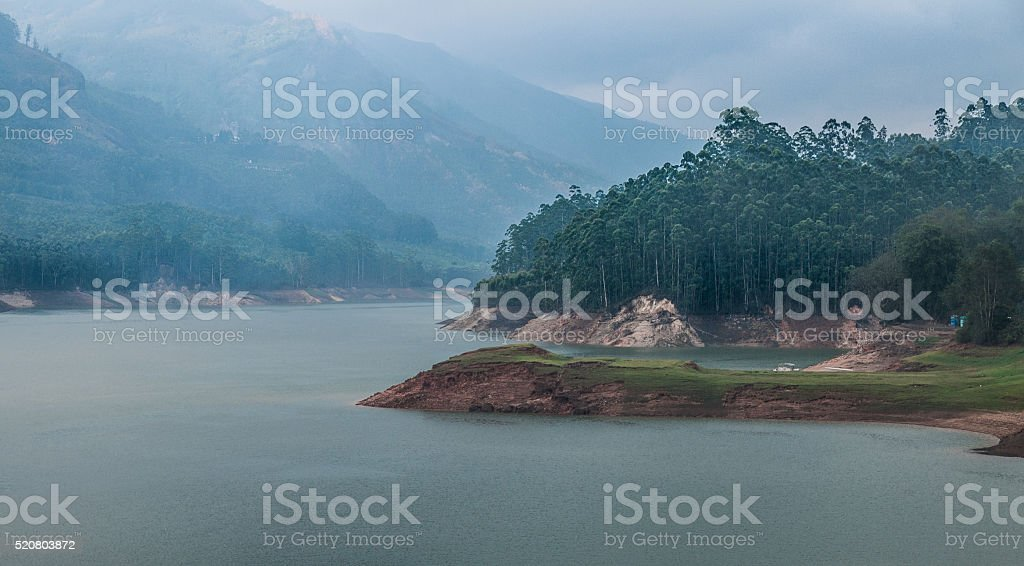 Lake and Western Ghats near Munnar, India stock photo