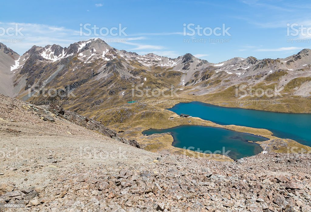 lake Angelus in Southern Alps, New Zealand stock photo