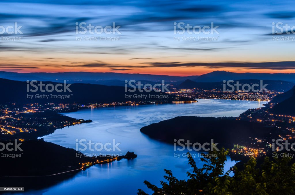 Lake Annecy (Lac d'Annecy) in France by Talloires by night stock photo