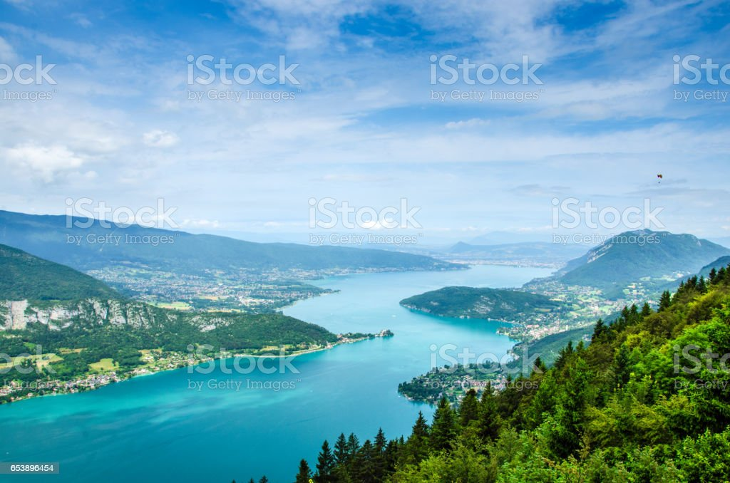 Lake Annecy in France seen from a viewpoint photographed on a summer day with blue sky stock photo