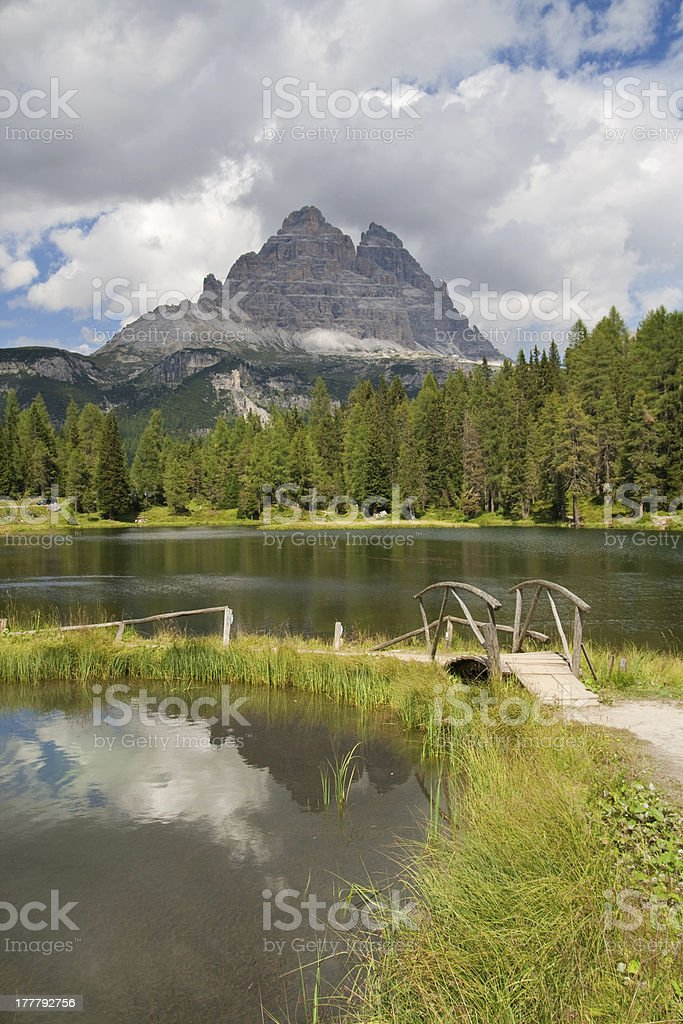 Lago Antorno and Tre Cime di Lavaredo royalty-free stock photo