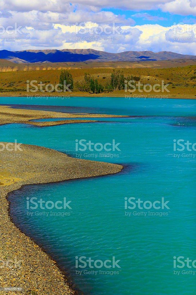 Lake Argentina, meadow steppe, blue river, Patagonia, El Calafate stock photo
