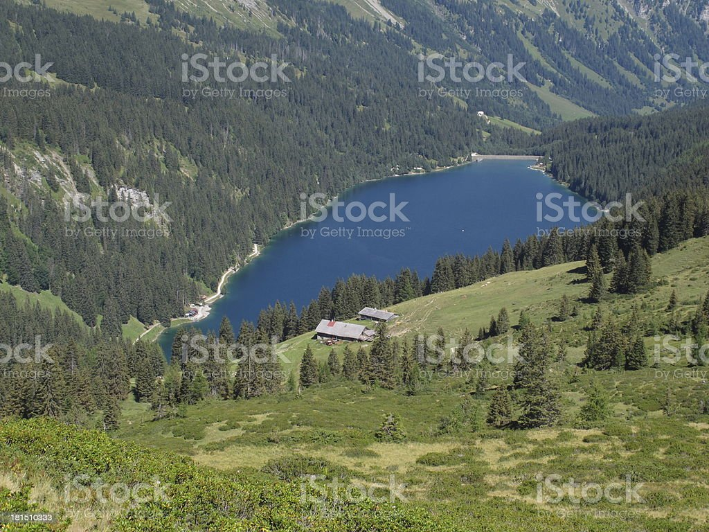 Lake Arnensee and farm royalty-free stock photo