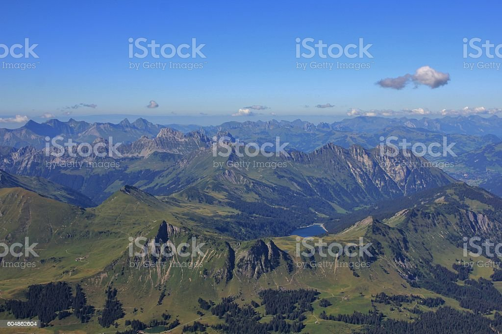 Lake Arnensee and mountain ranges stock photo
