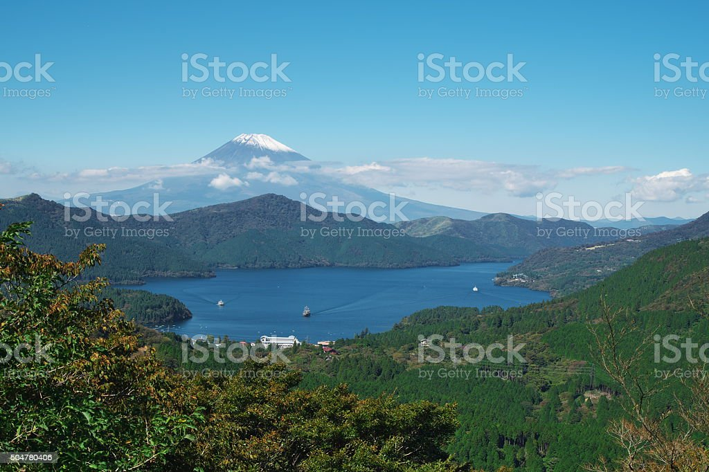 Lake Ashi and Mt. Fuji stock photo