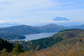 Lake Ashinoko and Mt.Fuji in Autumn in Hakone, Kanagawa, Japan