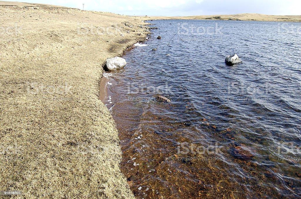 Lake at Eshaness stock photo
