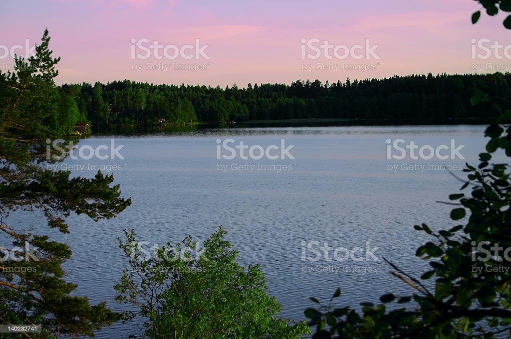 Lake at Sunset royalty-free stock photo