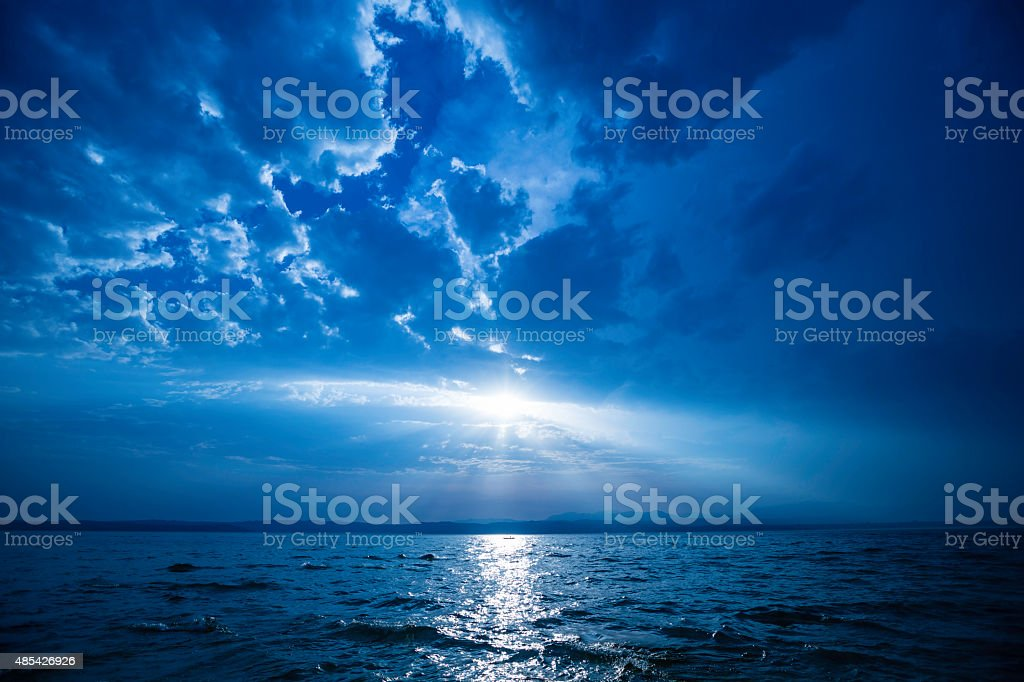lake at sunset stock photo