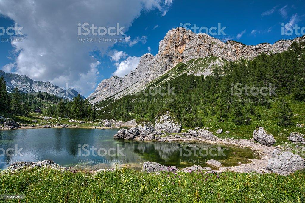 Lake at Triglavska Sedmera jezera In Triglav National park stock photo