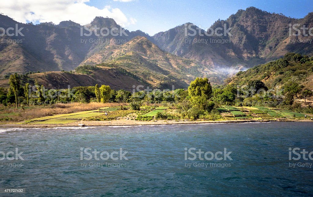 Lake Atitlan farms stock photo