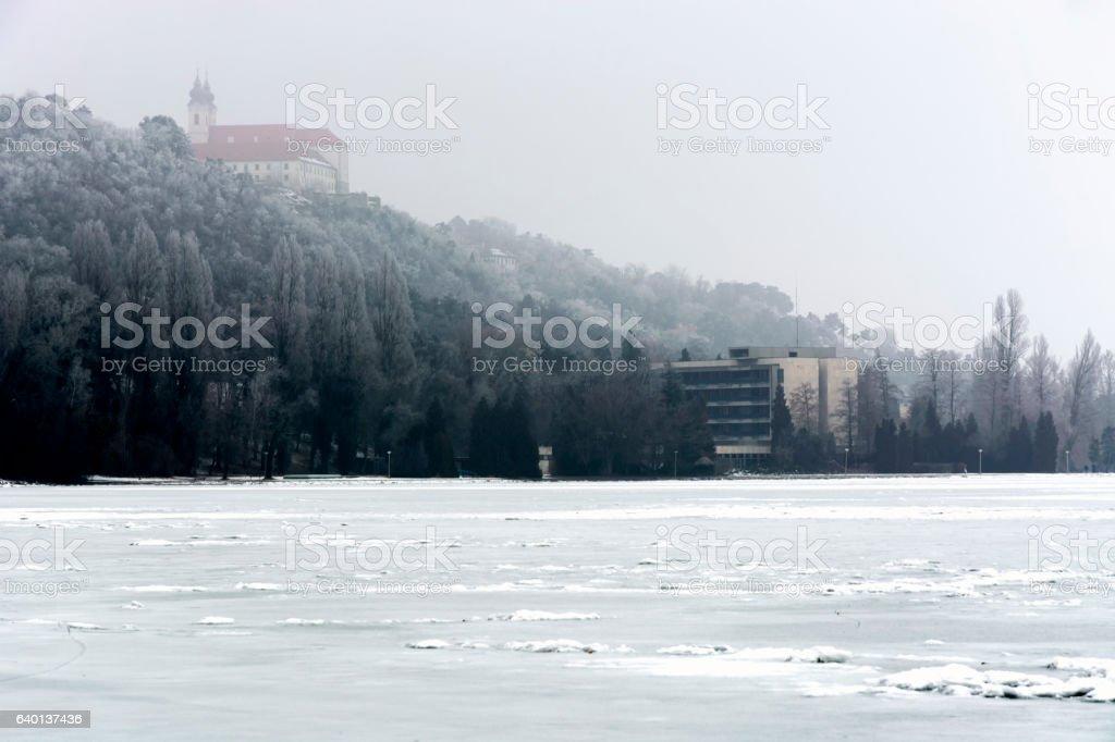 Lake Balaton in winter time at Tihany, Hungary stock photo