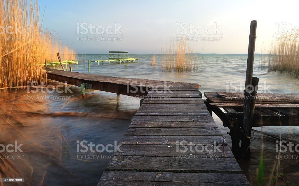 Lake Balaton pier stock photo
