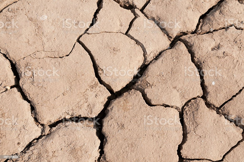 Lake bed drying up due to drought stock photo