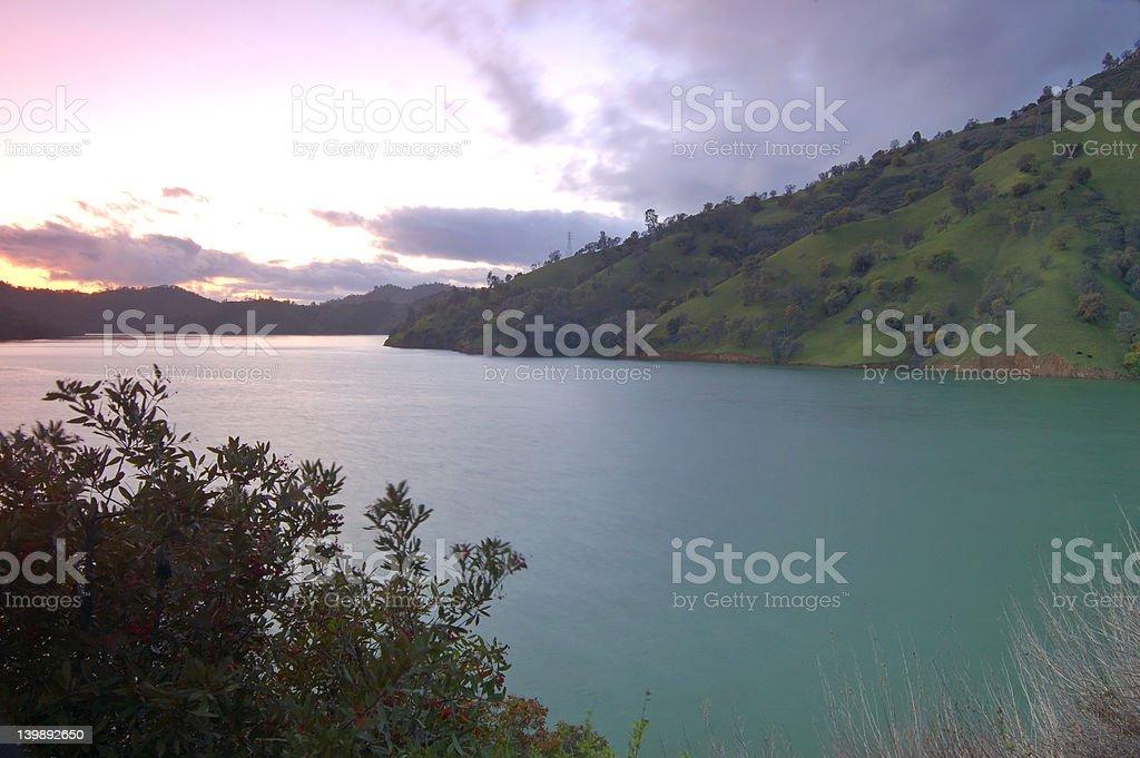 lake berryessa sunset stock photo