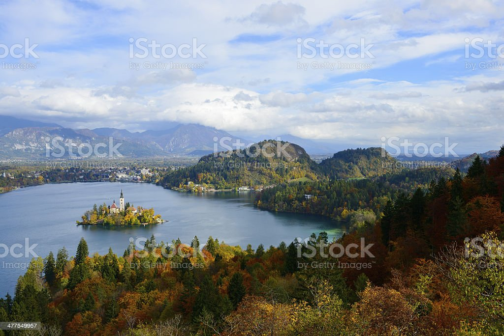 Lake Bled autumn landscape in Bled, Slovenia royalty-free stock photo