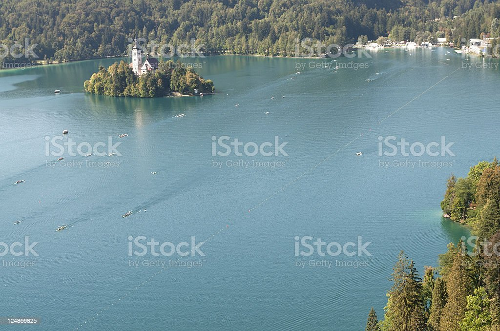 Lake Bled before World Rowing Championship stock photo