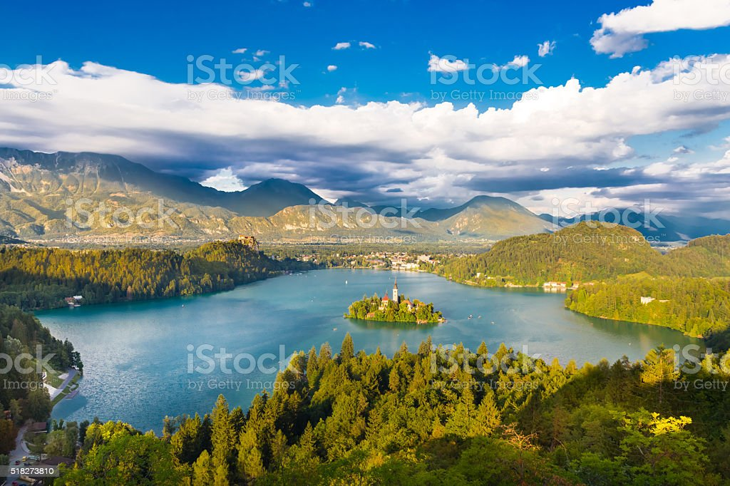 Lake Bled in Julian Alps, Slovenia. stock photo