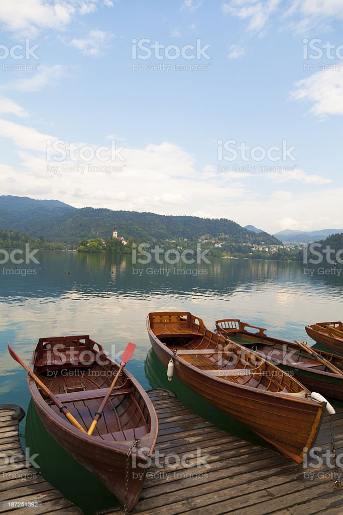 Lake bled with rowing boats royalty-free stock photo