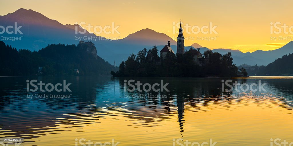 Lake Bled with St. Marys Church of the Assumption stock photo