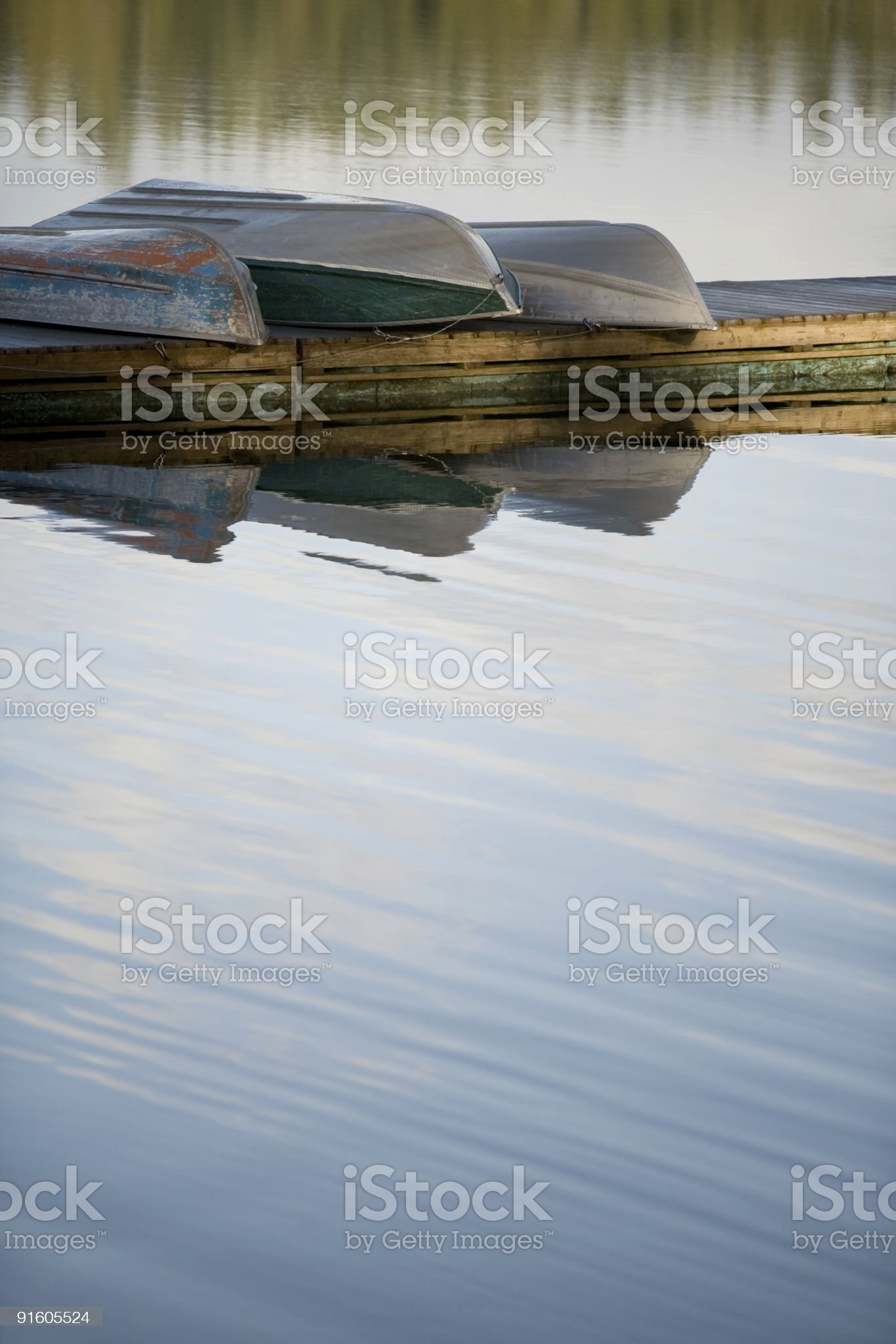 Lake Boats on Tranquil Water royalty-free stock photo