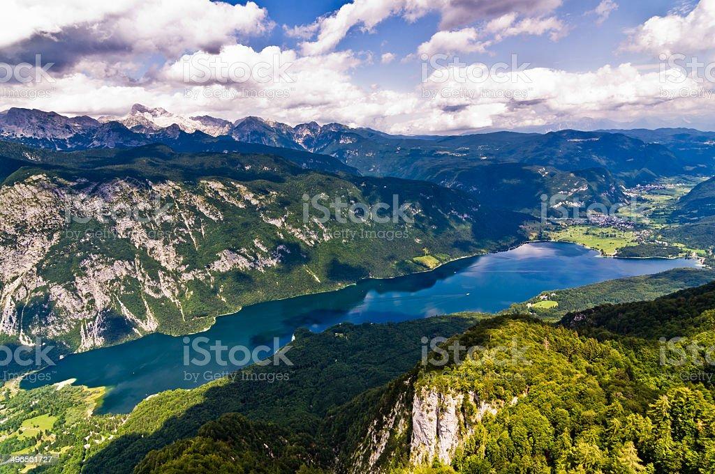 Lake Bohinj and its surrounding southern Alps mountains stock photo