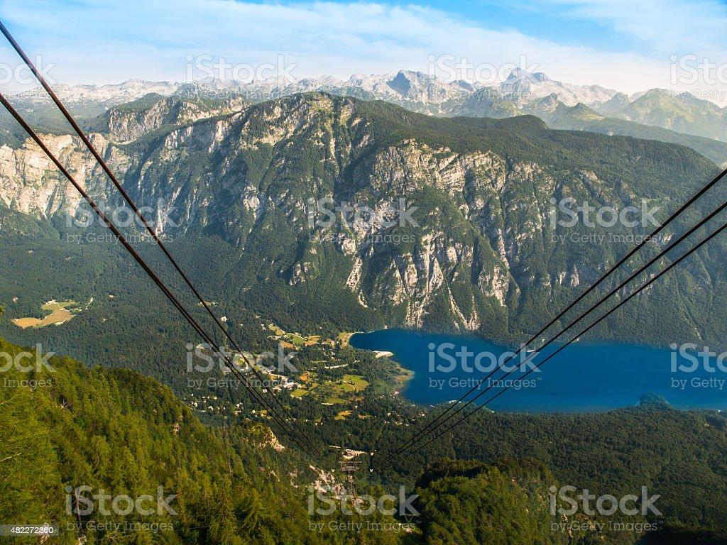 Lake Bohinj and Triglav Mountain stock photo