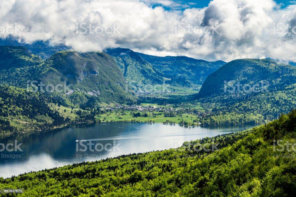 Lake Bohinj from Vogel cable car top station. Julian Alps. Slovenia stock photo