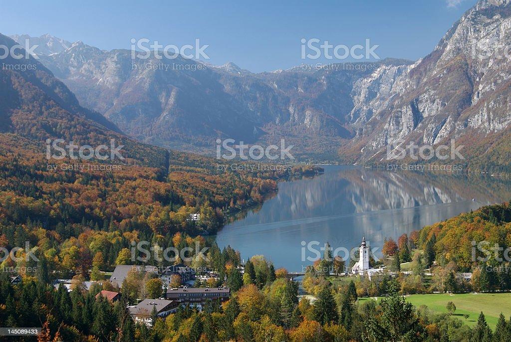 Lake Bohinj in autumn stock photo