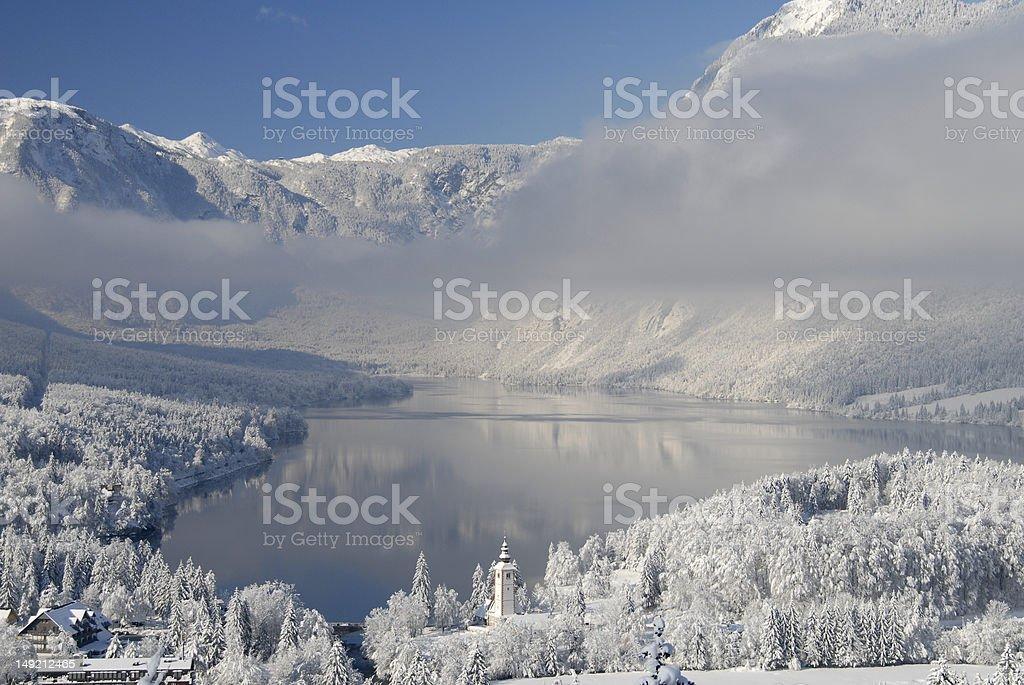 Lake Bohinj in winter stock photo
