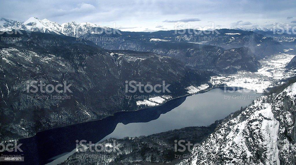 Lake Bohinj, Slovenia in winter time royalty-free stock photo