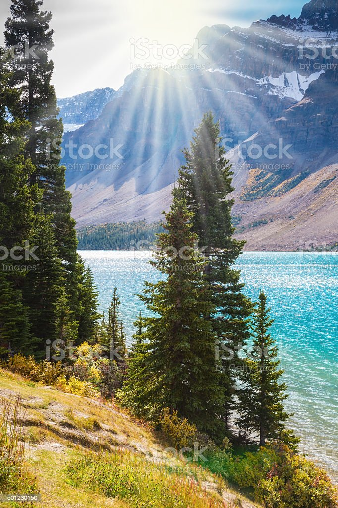 Lake Bow surrounded by rocks stock photo