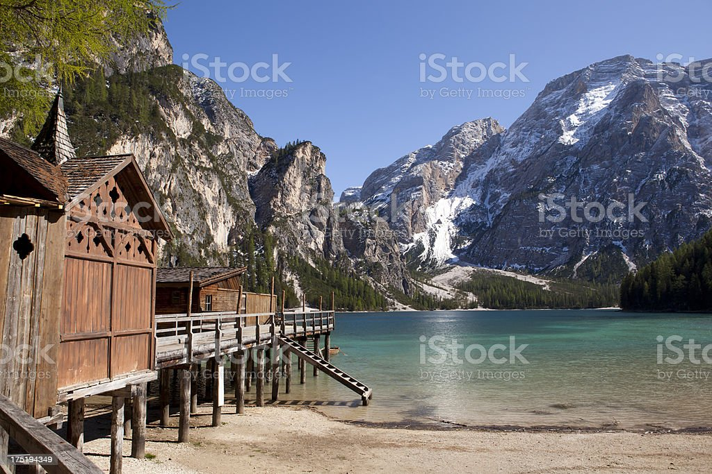 'Lago di Braies (Pragser Wildsee), Dolomites.' stock photo